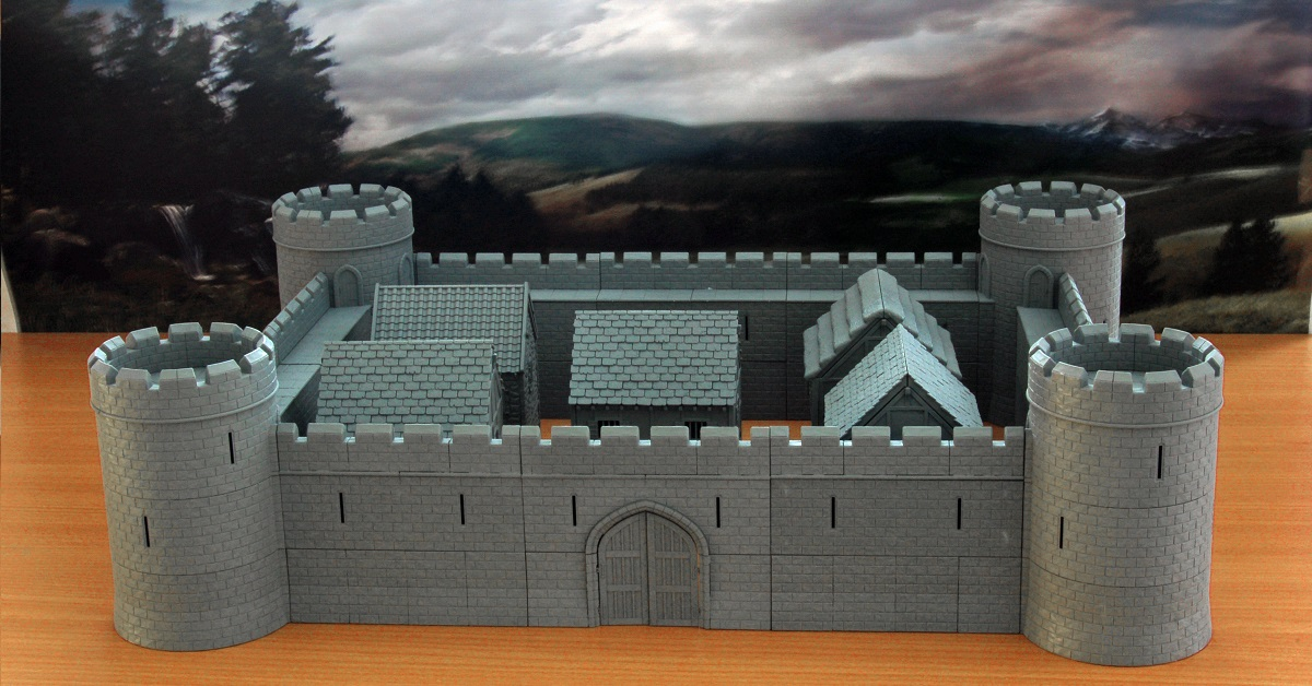 Model Kits 28mm MEDIEVAL FORTIFIED CASTLE WALL GATE TABLETOP