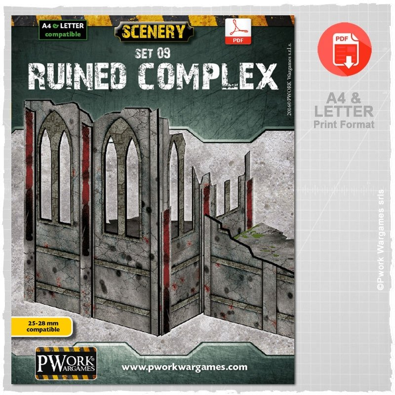 Ruined Complex: Pwork Wargames gaming Scenery Set