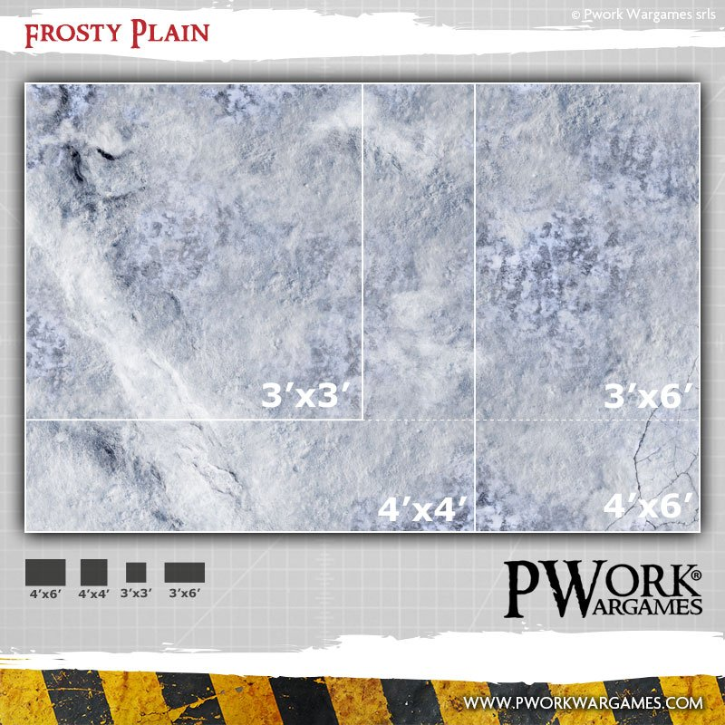 NEW MAT DESIGN! Frosty Plain: Pwork Wargames fantasy gaming mat