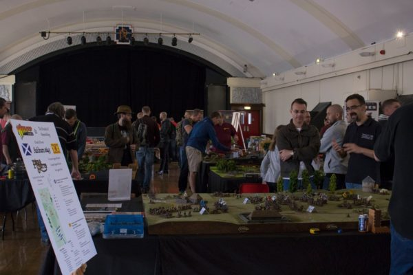 The afternoon games of the open day, showcasing the Auldearn table in the foreground.