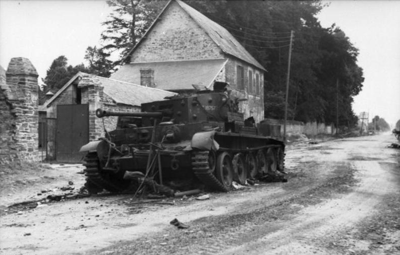 The wreck of a Cromwell Tank At Villers Bocage