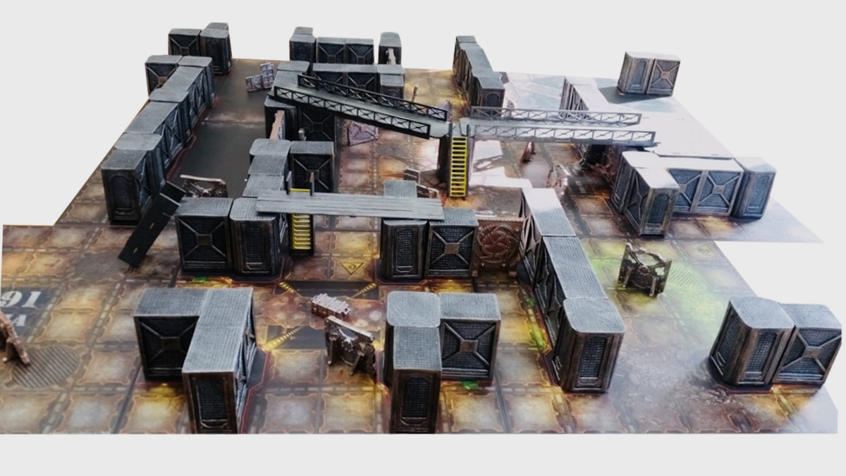 INDUSTRIAL WALLS 60pcs SET 10 % DISCOUNT NOW – perfect scenery for Necromunda and Zone Mortalis: ALL PREPAINTED AND READY TO PLAY