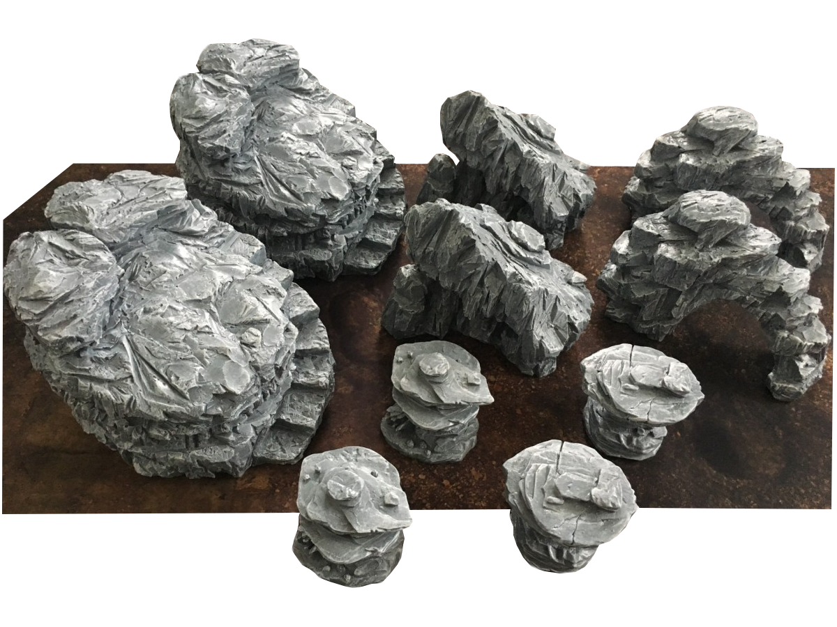 5 % DISCOUNT NOW – New prepainted ready-to-play resin ROCKS ! 10pcs and 5pcs SETS