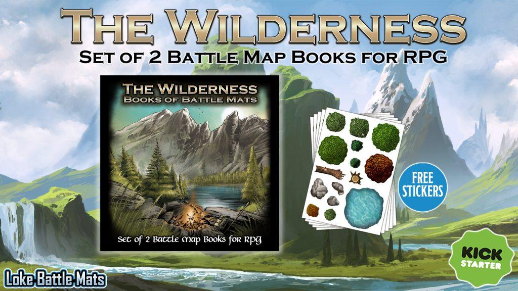 Last chance to Late Pledge for Loke Battle Mats' Wilderness Books of Battle Mats!