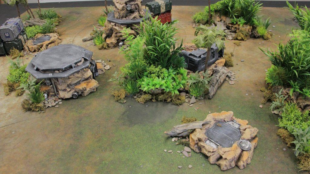 Doesn't it look good?  Rocky Base terrain on Lost World mat!